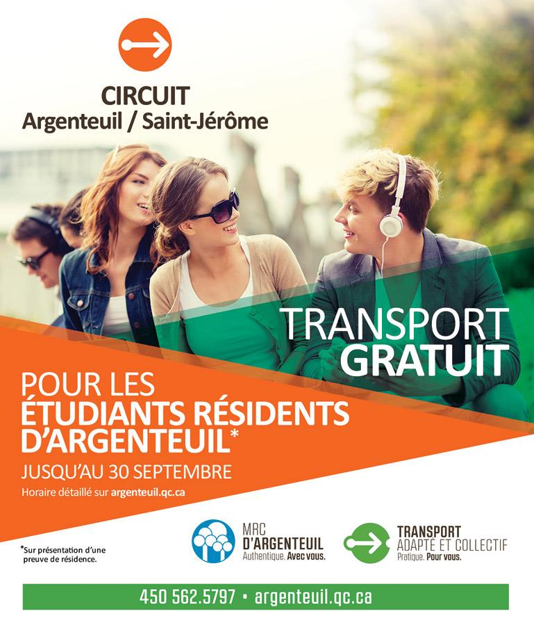 TRANSPORT GRATUIT POUR LES ÉTUDIANTS